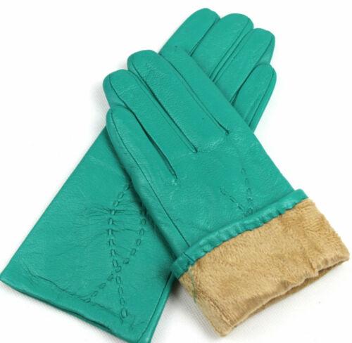6,5 7 7,5 8 8,5 //T1 Damen Echt Leder Handschuhe Fleece Gefüttert Gr
