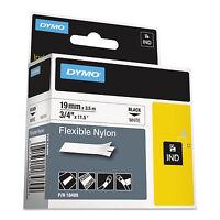 Dymo Rhino Flexible Nylon Industrial Label Tape 3/4 X 11 1/2 Ft White/black on Sale