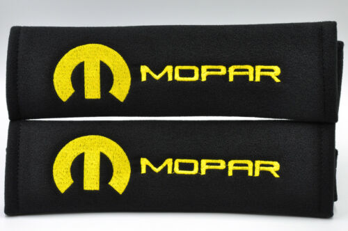 Yellow on Black Embroidery Chrysler Mopar Pair of Seat Belt Cover Shoulder Pad