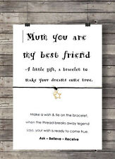 Mum Best Friend Wish String Charm Bracelet Friendship Gift Mothers Day