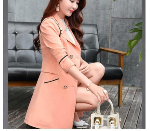 Damenmode Mantel Frühling Langarm Anzugkragen Freizeit Zweireihig Unifarben TOP