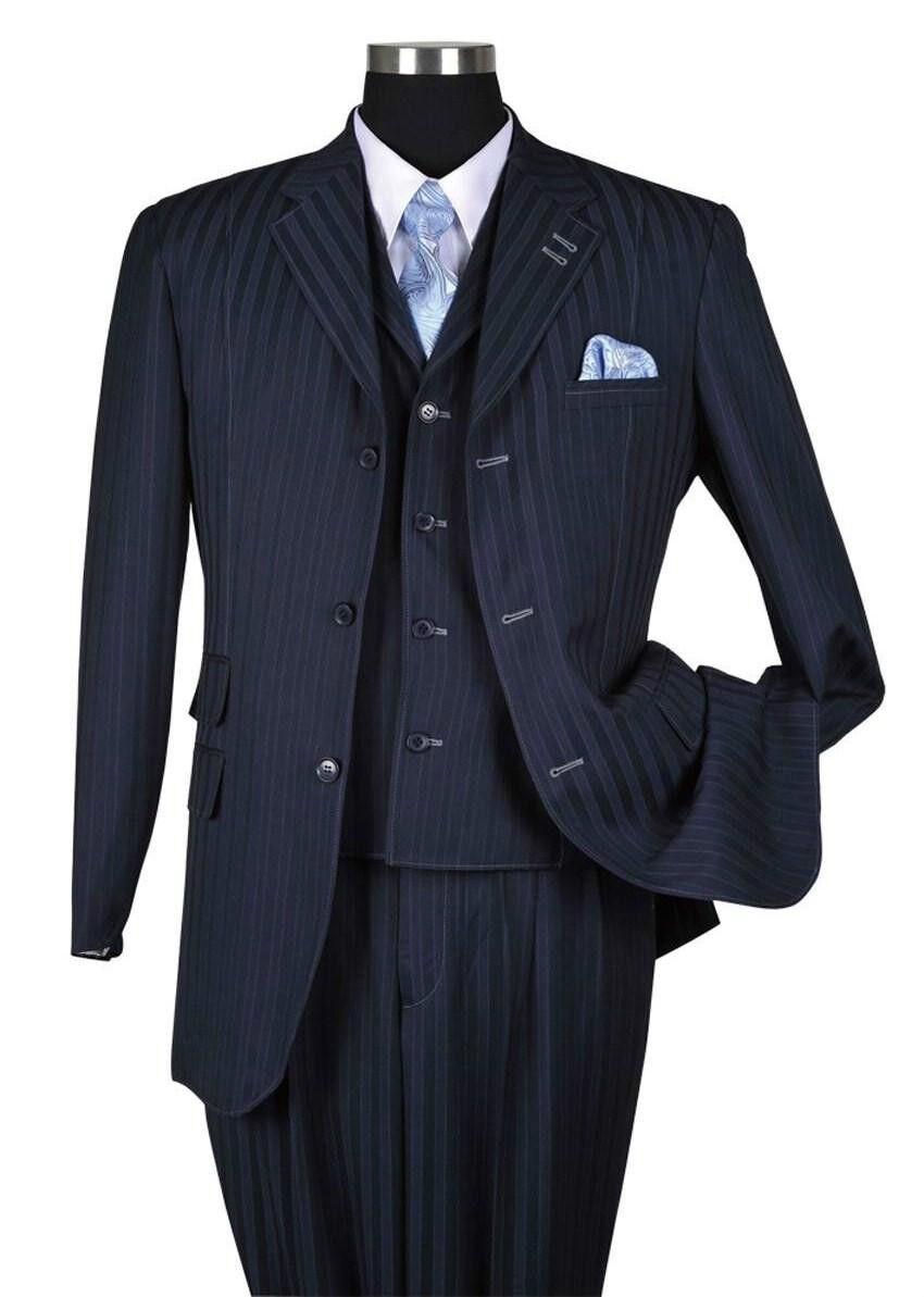 Men's Three Button Classic Striped Suit w  Vest 3pc Set 5267 Navy