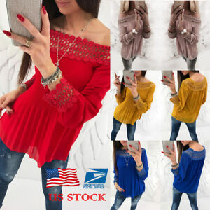 e2677fc3dde4 US Womens Off Shoulder Crochet T-Shirt Tops Casual Long Sleeve Lace ...