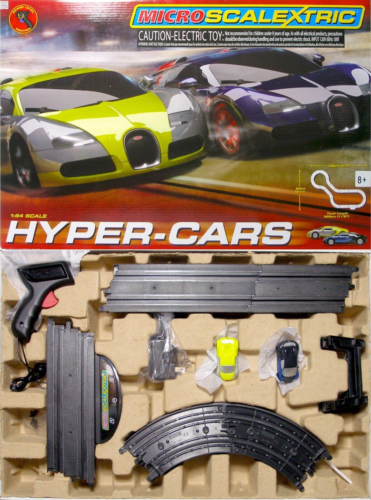 2015 Micro Scalextric Bugatti Veyron Hyper ho slot car Nice Race Set 1 64 G1108