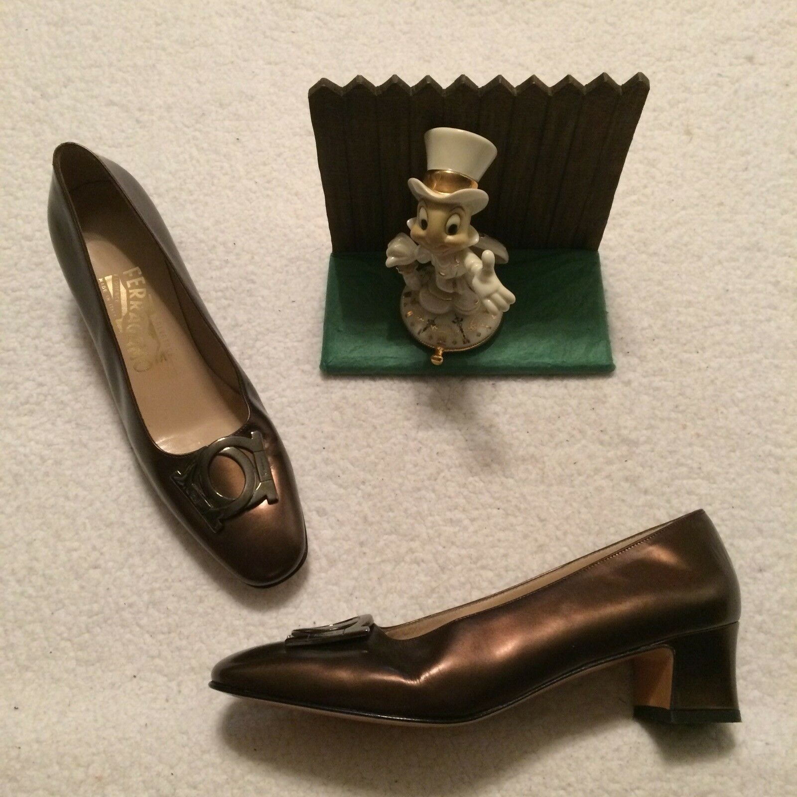 Salvatore FERRAGAMO Bronze Leather Heels Pumps shoes, 8 AA 61181
