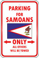 American Samoa Country Parking Only Samoan 12x18 Aluminum Metal Sign