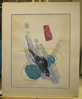 "Rikio Takahashi 1969 Abstract Woodblock ""Breath"" Listed Japanese Printmaker"