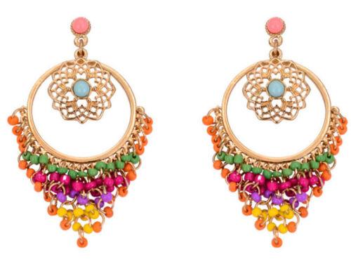 Bohemian Stylish Women Beads Tassel Dangle Drop Hook Ear Stud Earings Jewellery