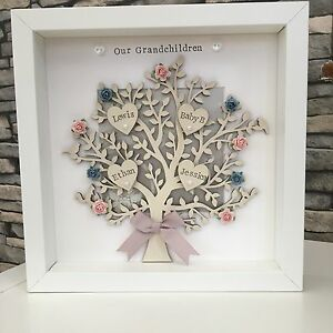Personalised Family Tree Frame Gift Mothers Day Grandma Birthday