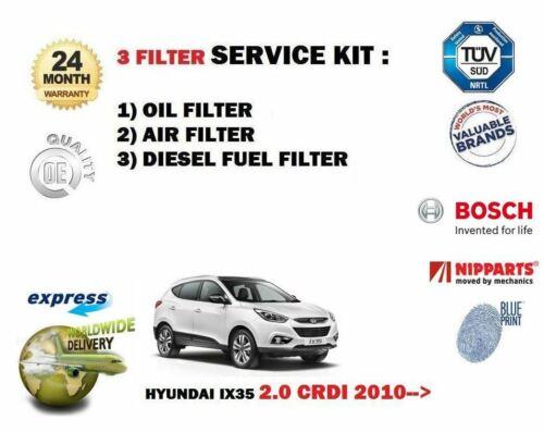 Set De Filtros 3 /& Gt Kit De Servicio Aceite Aire combustible Para Hyundai Ix35 2.0 Dt Crdi 2010