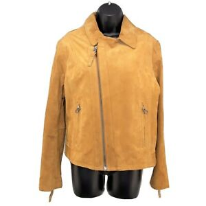 NWT H&M L.O.G.G. Tan Suede Leather Jacket Womens Size 14 Zipper Winter Coat