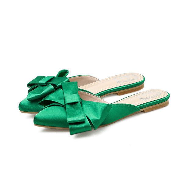 Zapatillas Zuecos verde Brillante Suela Elegantes Cómodo Piel Sintético 9915