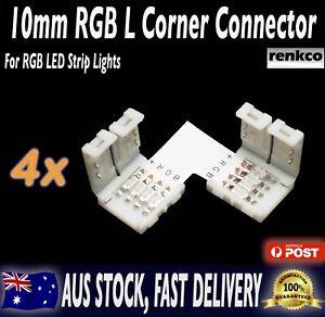 4 Sets of 10mm LED Strip L Shape Corner Connector Set For RGB LED Strips