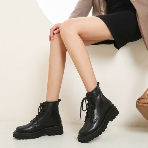 Details about  /New Women Motor Biker Chunky Heel Non-slip Lace Ups Casual College Ankle Boots L