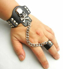 TEW145 Metal Skull Stud Black Leather Slave Bracelet Wristband Ring Biker Gothic