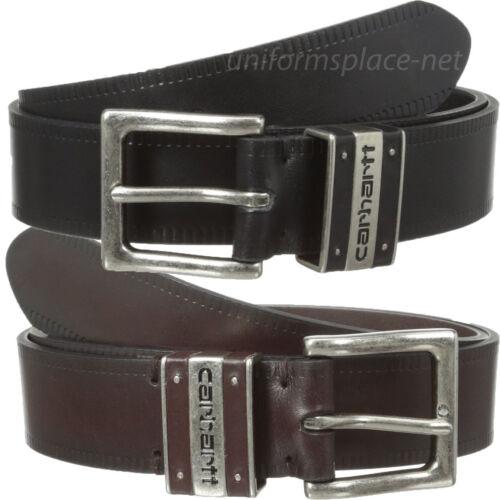 """Carhartt Work Belt Men 1-1//2/"""" Leather Tank Tread Belts Metal Buckle Back Brown"""