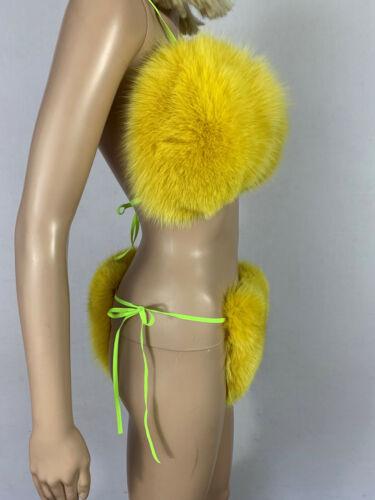 Fox Fur Bikini Two Pieces Double Sided Fur Yellow Fur Color Fur Panties and Top