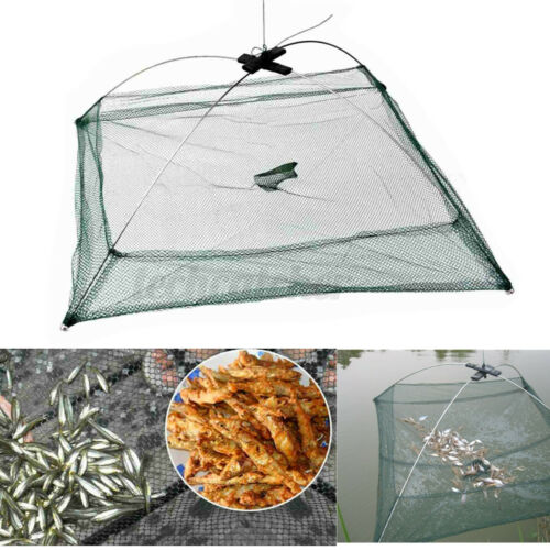 Folding Fishing Net Fish Shrimp Crab Baits Cast Net Mesh Trap Dip Catching Cage