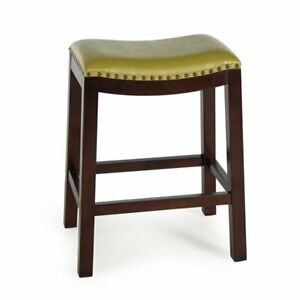 Excellent Details About Green Leather Counter Stool 26 Seat Height Saddle Style Nailheads Espresso Wood Uwap Interior Chair Design Uwaporg