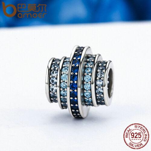 Bamoer Authentique S925 Sterling Silver Charm Blue Rhythm Fit Bracelets Bijoux Q