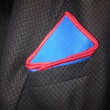 pocket square linen Italian hand made blue with red stitched borders