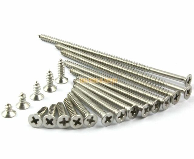 100pcs M4x20mm Stainless Flat Head Phillips Self-Tapping Wood Screw 18-8 Stainless Steel Screw 304