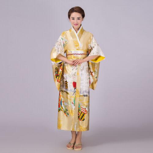 Retro Japanese Traditional Yukata Cosplay Belle Kimono Robe Geisha Dress Obi New