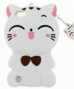 For iPod Touch 5th 6th 7th Gen - SOFT SILICONE RUBBER CASE COVER WHITE KITTY CAT