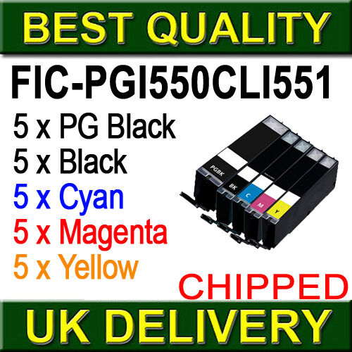 25 (5 Full Sets) Compatible Ink Cartridges for Canon Pixma Inkjet Printers