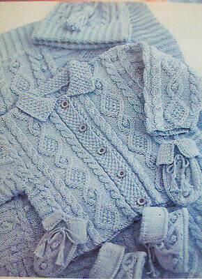"Baby Boys Cable Jacket Shawl Hat Mittens KNITTING PATTERN DK 18-21/"" Cardigan"