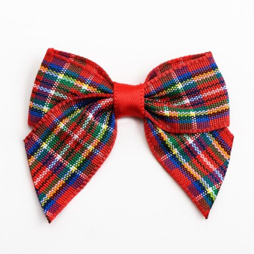 Christmas Tartan Carreaux Ruban Bows 4 cm Embellissement objet artisanal Carte Craft