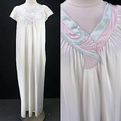 Vintage 70s Vanity Fair Off-White Nylon & Pastel Trim Long Loose Nightgown S/M