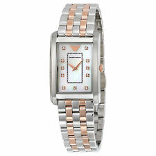 **NEW** LADIES EMPORIO ARMANI 2 TONE DIAMOND ROSE GOLD WATCH - AR1905 - RRP £299