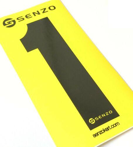 Lot de 4 Senzo Race Noire Numéro 1 fond jauneRotax KartMSA Légal