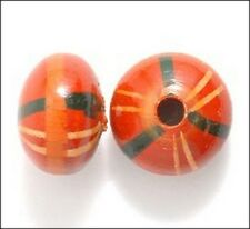 Wood Disc Red with Painted Pattern Beads