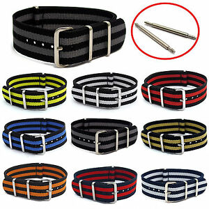 Thread-Through-Watch-Strap-Striped-Webbing-Military-Choice-of-colours-sizes-C047