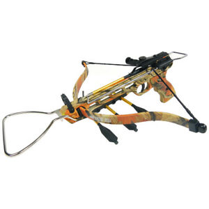 80-lb-Aluminum-Camo-Pistol-Hunting-Crossbow-Bow-15-Arrows-2-Strings-150-50-lbs