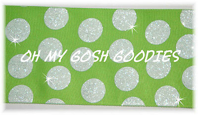 "3"" GLITTER JUMBO CHEER TEAM DOTS LIME WHITE GROSGRAIN RIBBON 4 IRISH HAIRBOW BOW"