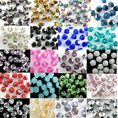 Wholesalemixed Lots 100pcs Glass Crystal Faceted Bicone Loose Spacer Beads 4mm