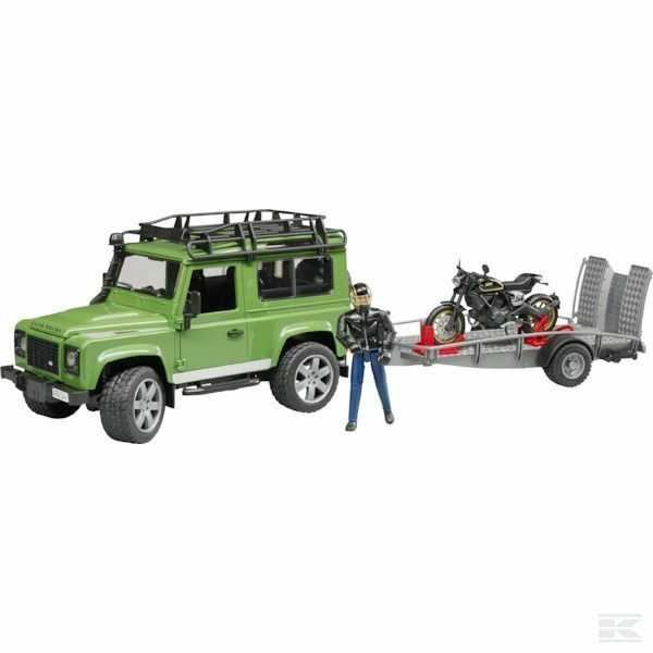 Bruder Land Rover With Trailer, Ducati Scarmbler And Driver 1 16 Scale Model