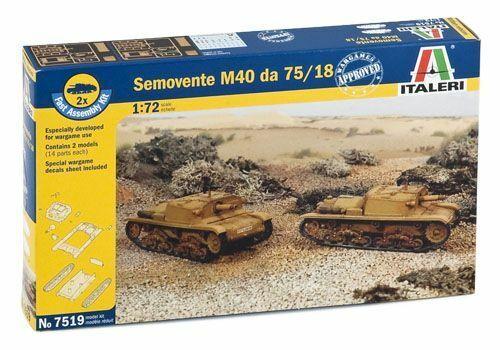 Semovente M40 Da 75/18 Tank 1:72 Plastic Model Kit IT7519 ITALERI