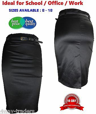 New Ladies Girls Women Pencil Skirt Stretch Satin FREE Belt Black Sizes 8-18