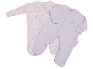 BNWT-Tiny-baby-Premature-Preemie-Teddy-twin-pack-sleepsuits-in-pink-or-blue