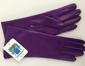NWT-Auth-Portolano-Bright-Purple-Leather-Cashmere-Lined-Gloves-SZ-7-5