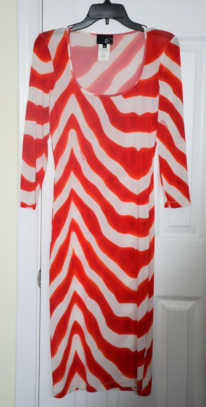 JUST Cavalli red zebra print Roberto signature stretch midi dress 44 US 8