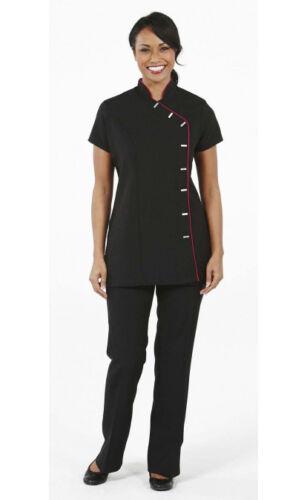 beauty Black Asymmetrical button tunic coloured trim By Simon Jersey Health