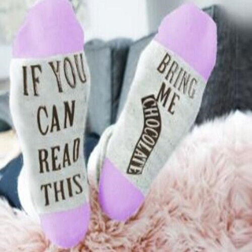 Women Mens Letter If You Can Read This Bring Me Chocolate Sport Socks Stockings