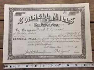 Cornell-Mills-Fall-River-Massachusetts-Stock-Certificate-7-Shares-1929-Antique