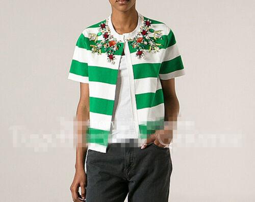 pietre da preziose verdi a maniche jersey donna corte in 8 a con righe Camicetta zP6UwqnU