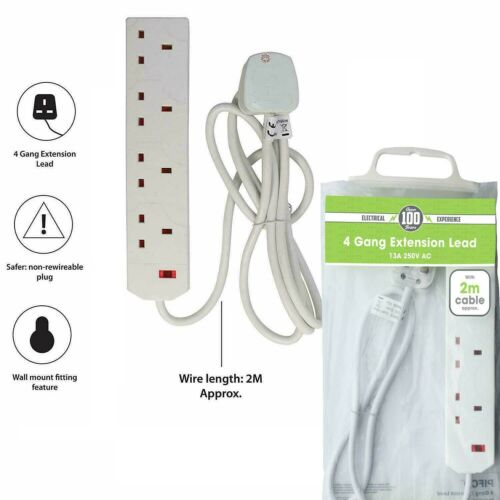 Pifco Electrical 4 Way Socket 4 Gang Extension Lead 2 Meter Extension Cable Mult